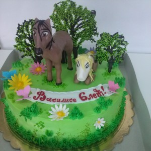 """Торт детский """"Лошадки"""""""
