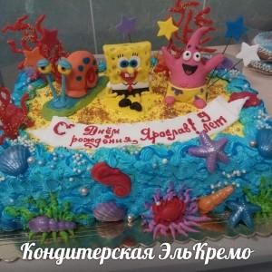 Торт с фигурками Губка Боб и его друзья