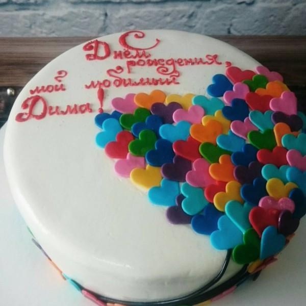 """Торт """"Воздушный шар из сердечек"""""""
