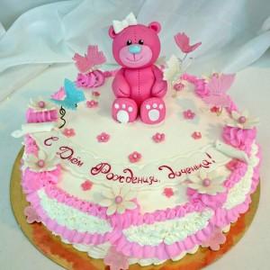 """Торт детский """"Розовый мишка"""""""