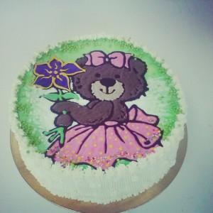 """Детский торт """"Медвежонок с цветком"""""""