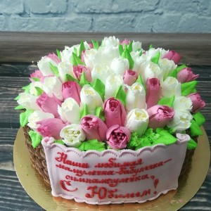 "Торт ""Корзинка с тюльпанами"" Арт. 00294"