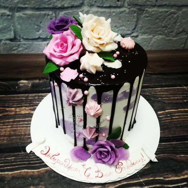 """Торт """"Украшенный цветами"""" Арт. 00366"""