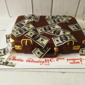 """Торт """"Чемодан с долларами"""" Арт. 00662"""