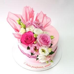 "Торт ""С живыми цветами"" Арт. 00878"
