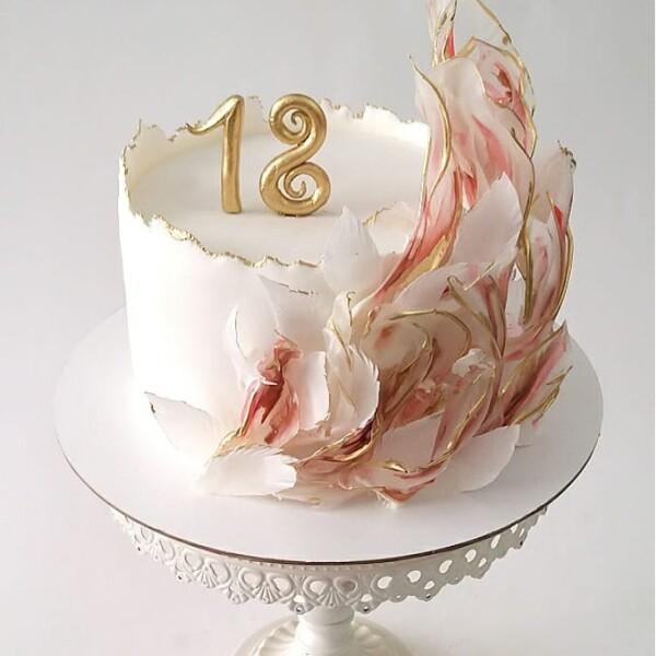 """Торт """"С декором из окрашенной рисовой бумаги"""" Арт. 00923"""