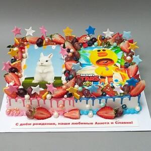 """Торт """"Два поздравления в одном торте"""" Арт. 00938"""