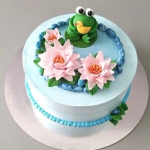 """Торт """"Лягушка с цветами"""" Арт. 00983"""