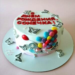 "Торт ""С объёмными шариками и бабочками"" Арт. 01057"