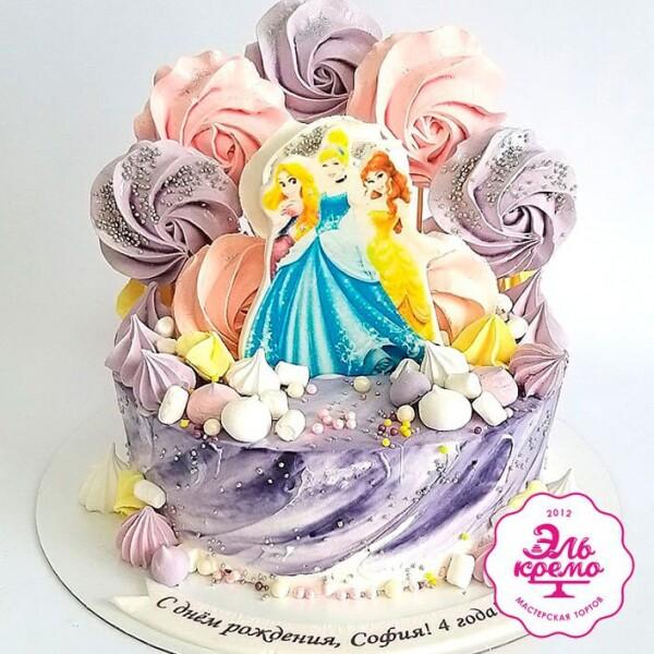 """Торт """"С безе и принцессами"""" Арт. 01073"""